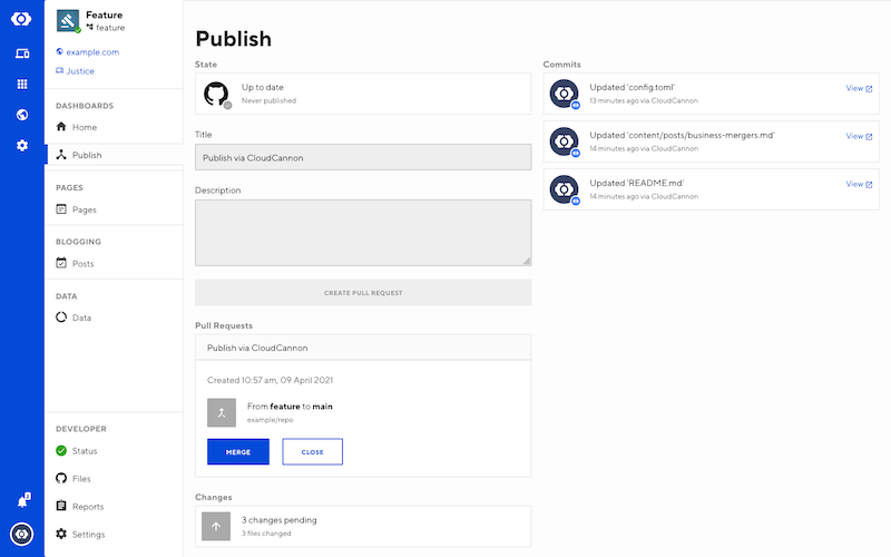 Publishing interface with pull request