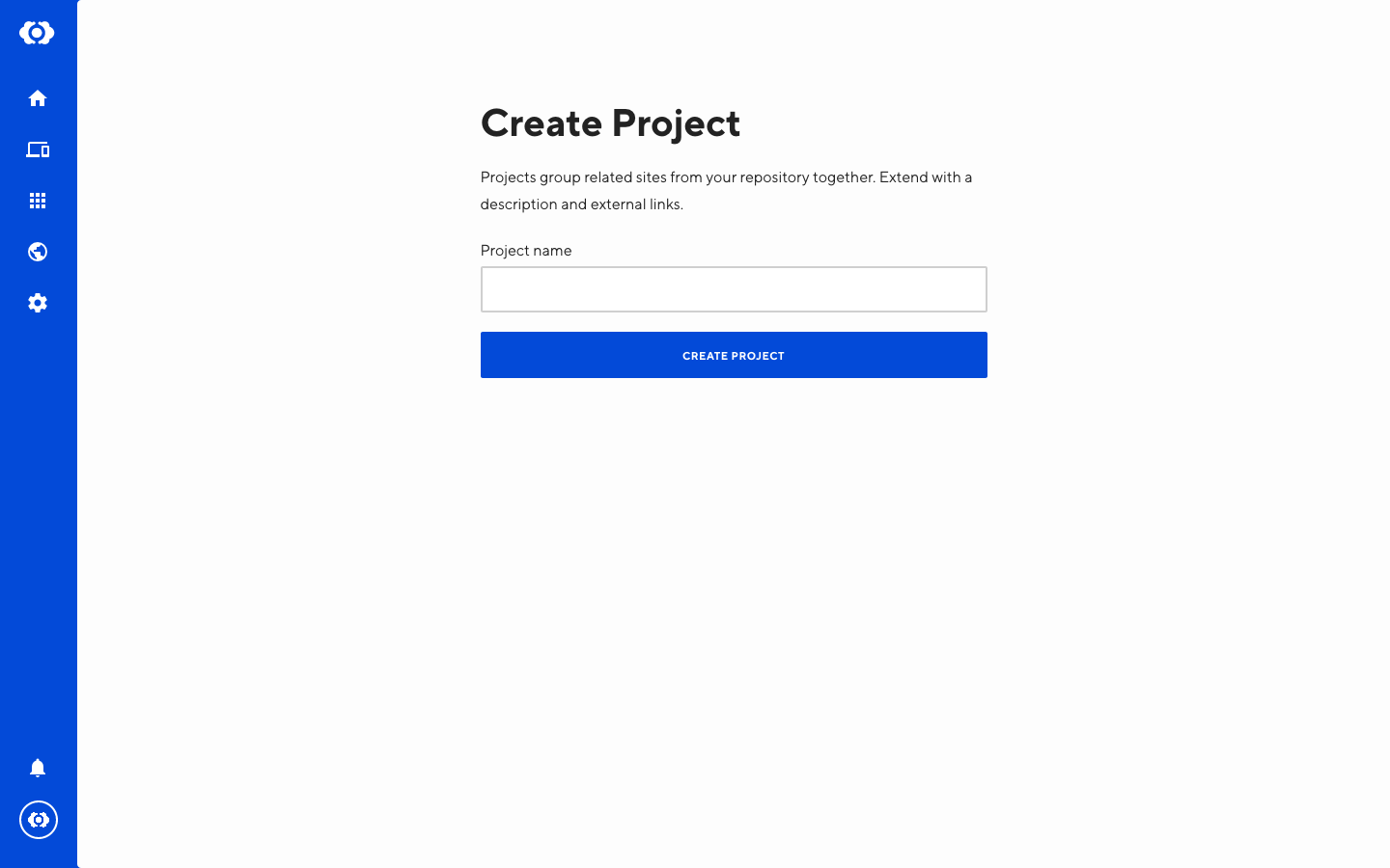Screenshot of Project creation interface