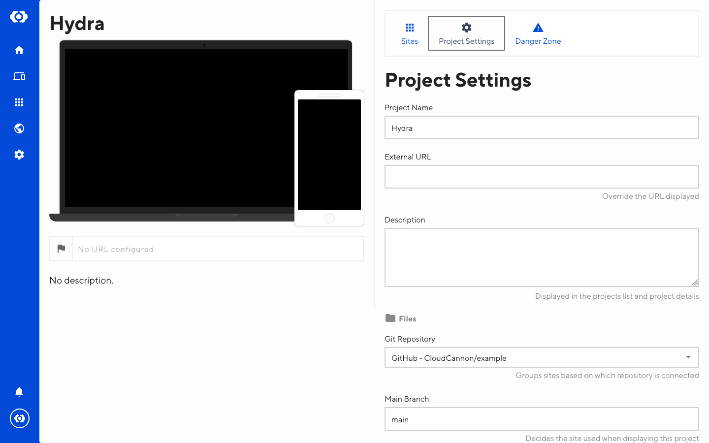 Screenshot of Project Settings interface