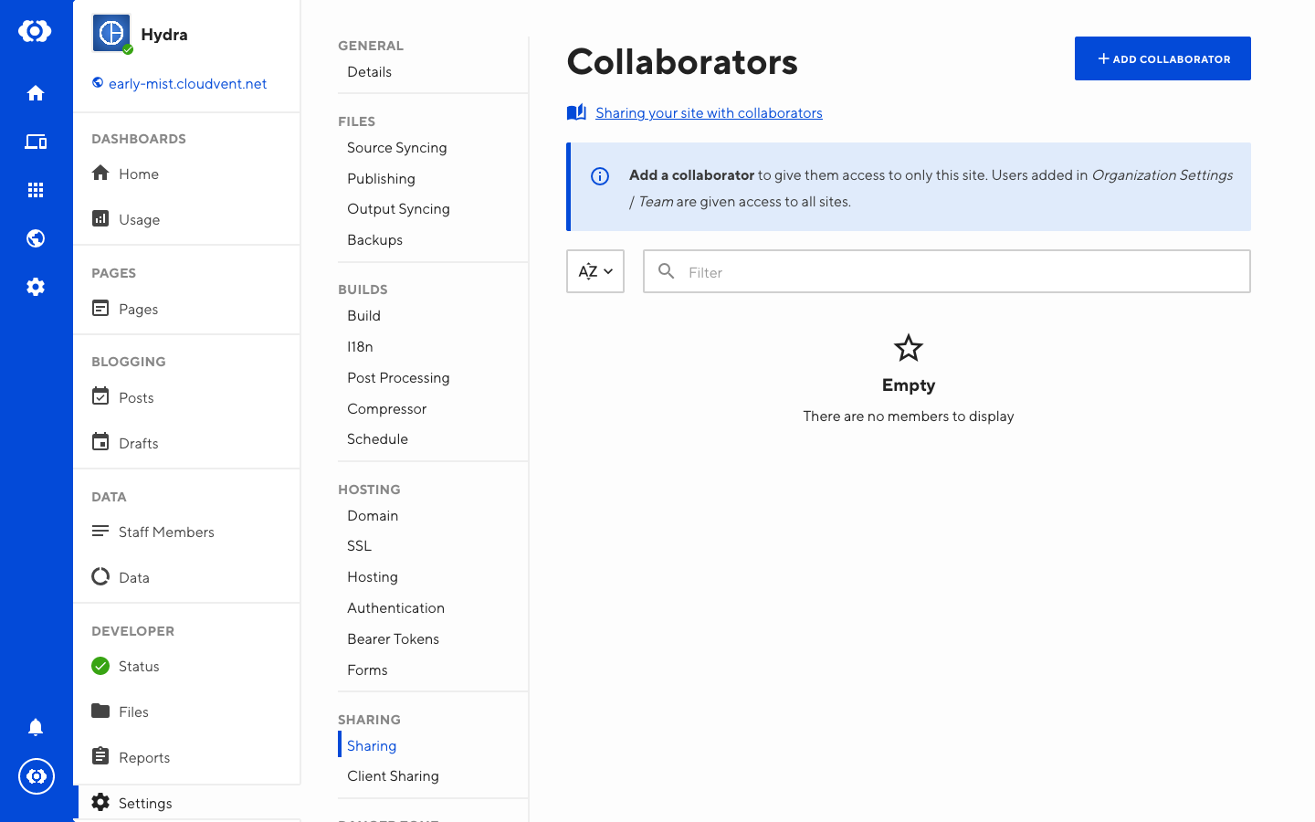 Screenshot of Collaborator sharing interface