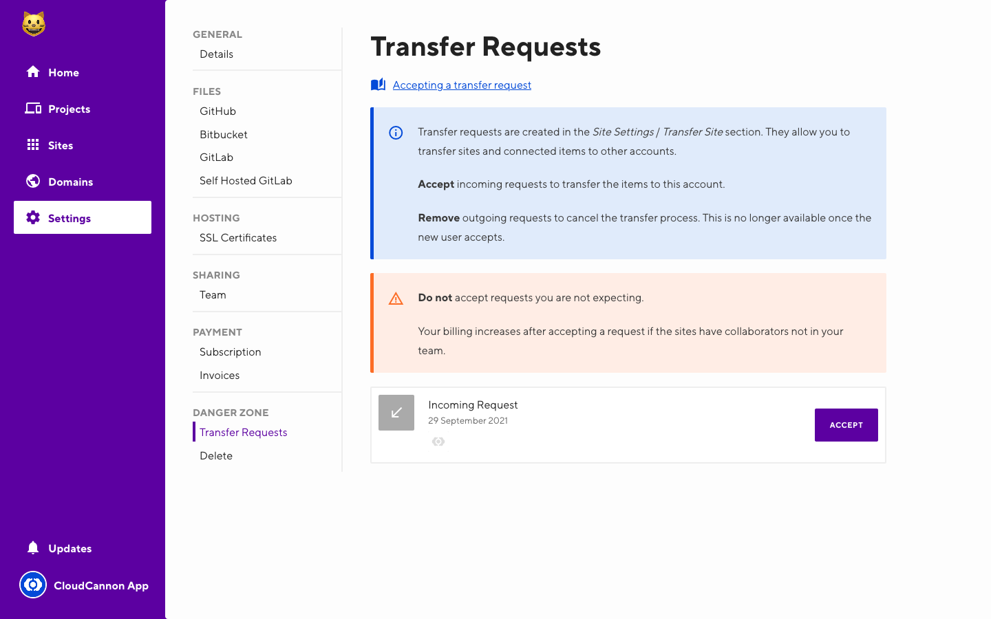 Screenshot of site transfer interface with transfer request incoming