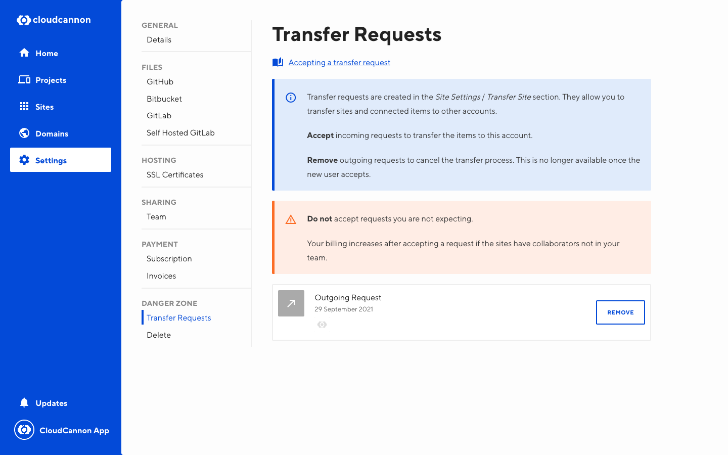 Screenshot of site transfer interface with outgoing site transfer