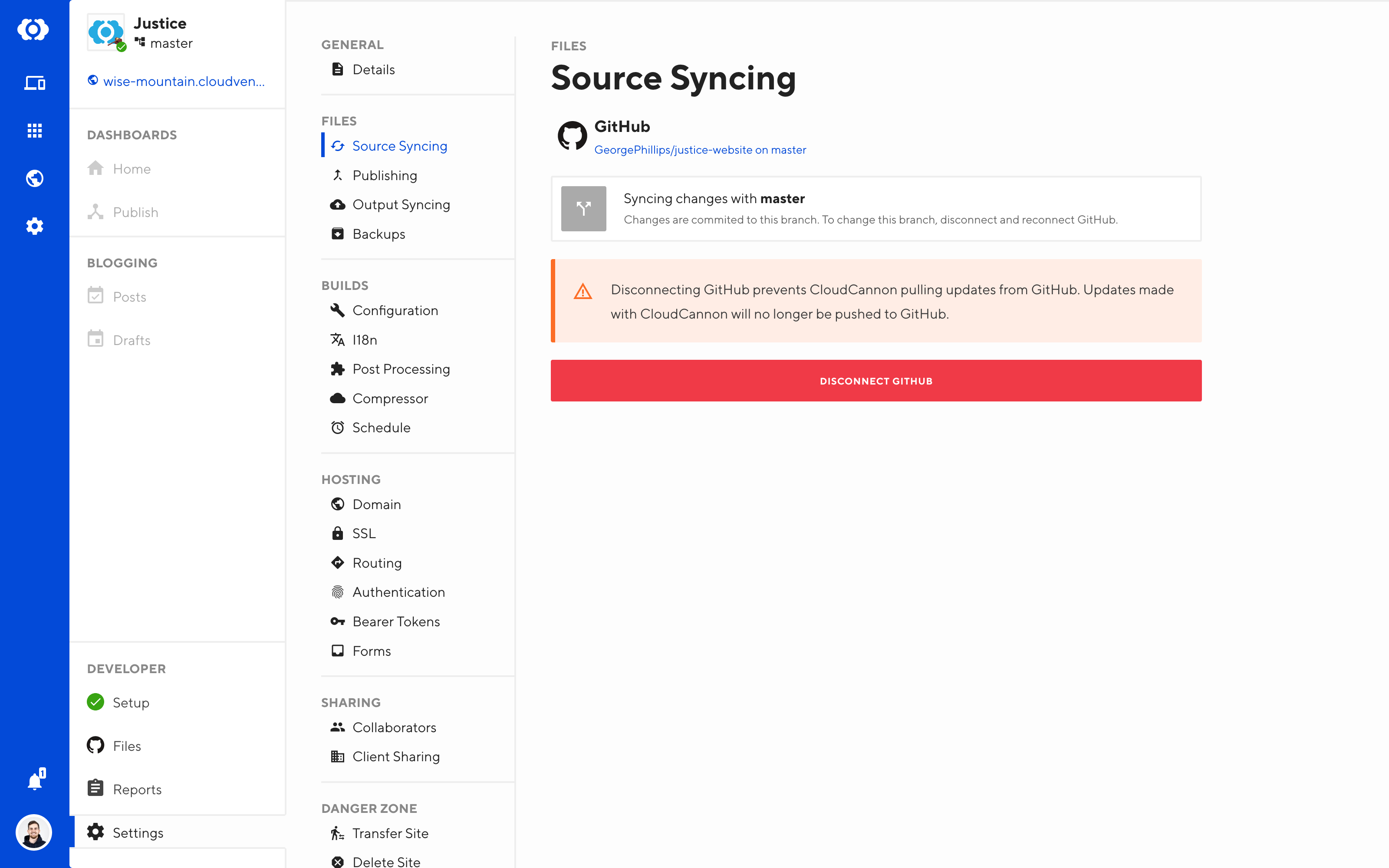 Site Settings / Source Syncing screen in CloudCannon